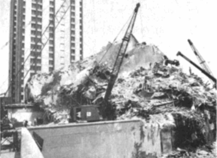 """This 21-story, non-WSMF steel frame high-rise collapsed in the 1985 Mexico City earthquake. Caltech engineers who investigated the collapse called it """"one of the most spectacular examples of damage"""" in the 8.0 quake. The tower overturned at its third floor, toppling onto a neighboring 14-story building. Building codes in Mexico and the U.S. were changed as a result."""