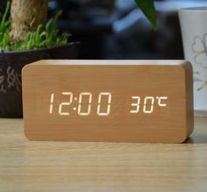 LED & Voice Activated Wooden Alarm Clock