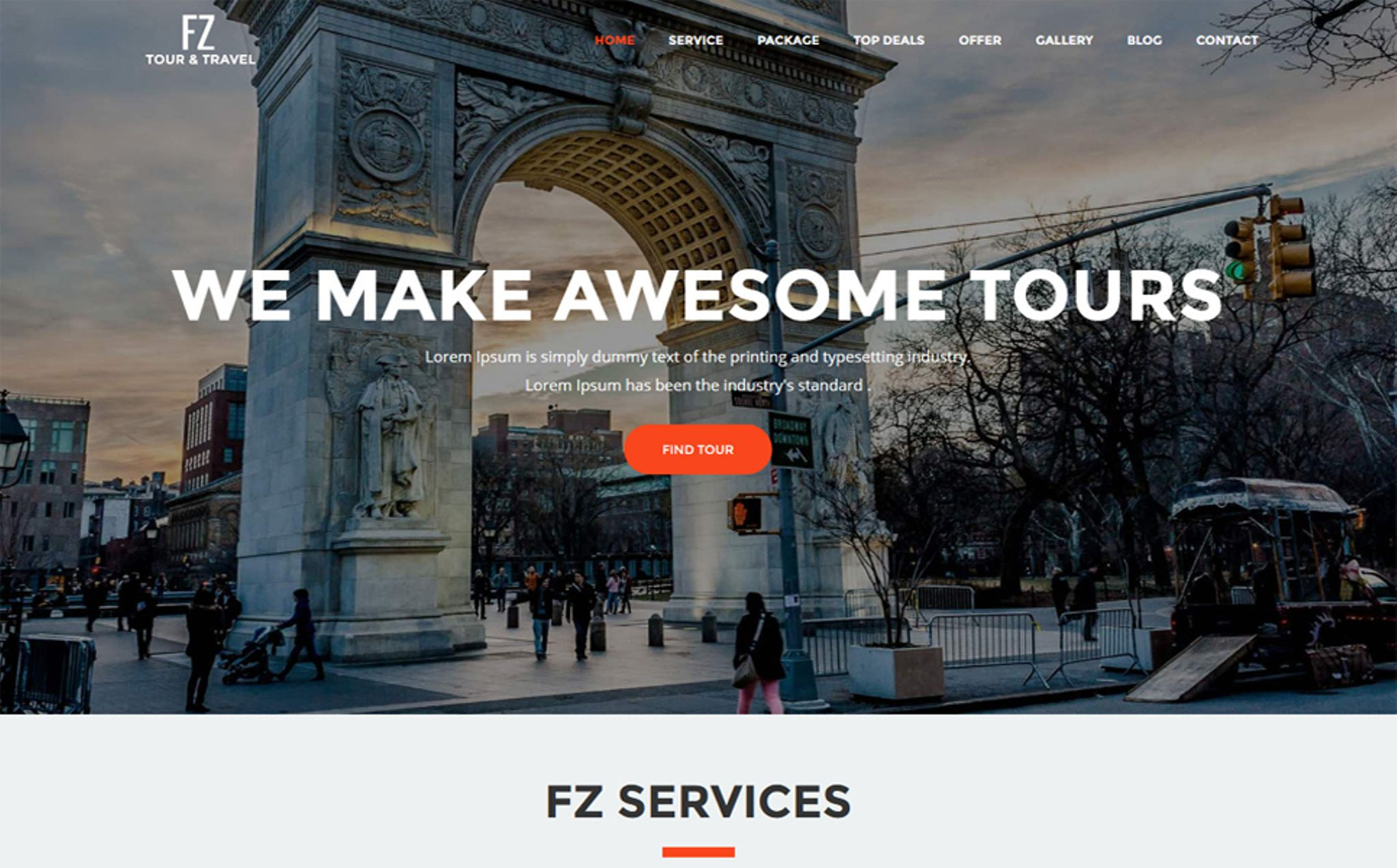 FZ - Tour & Travel Agency Website Template