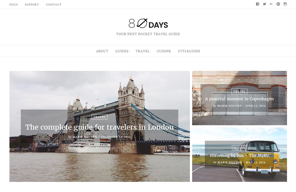 EightyDays - Travel Blog WordPress Theme