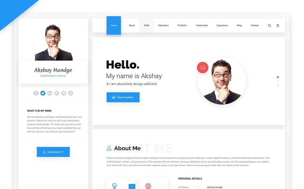 Hello Resume - CV, vCard & Portfolio Website Template