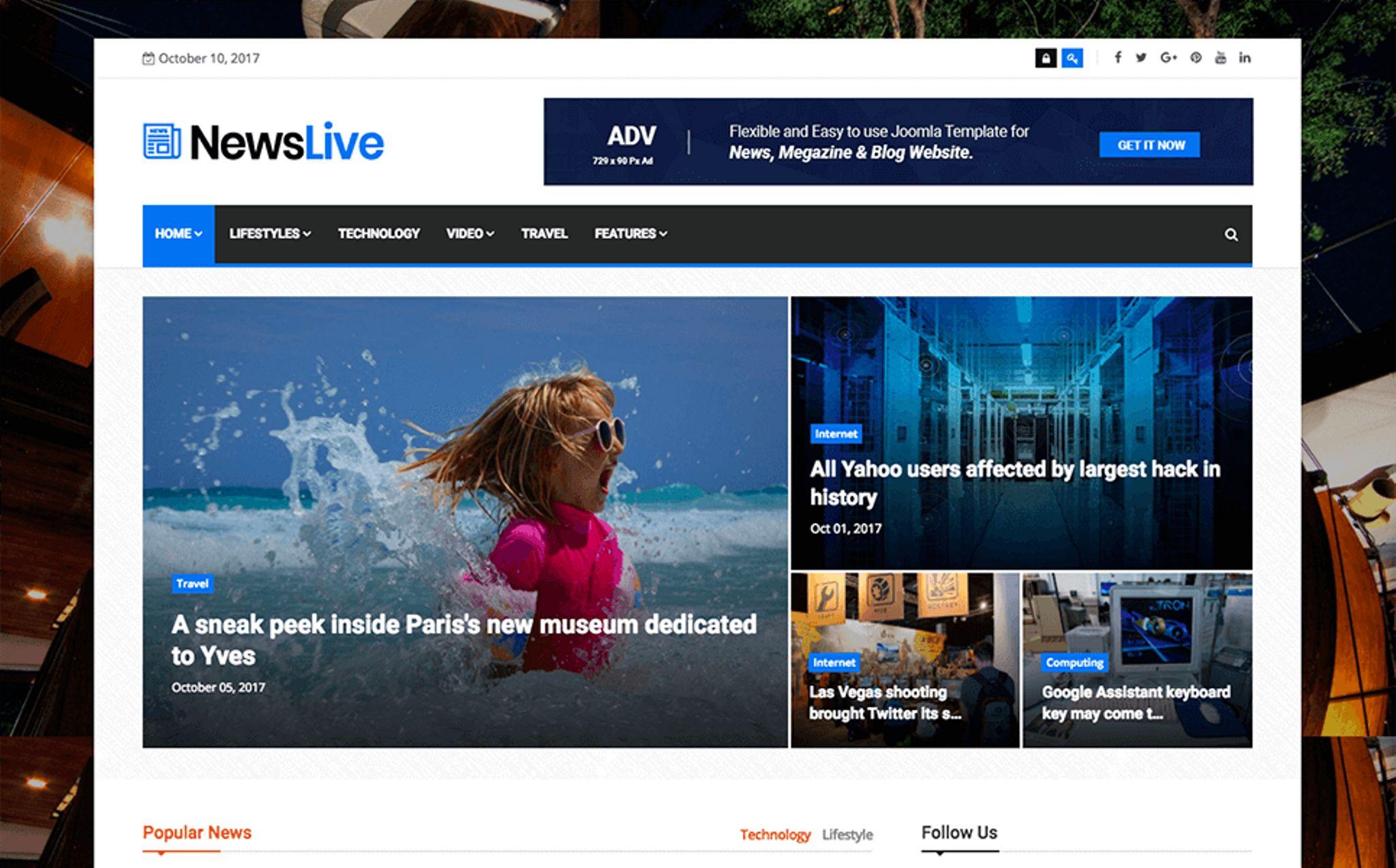 Newslive - Responsive News Magazine Joomla Template