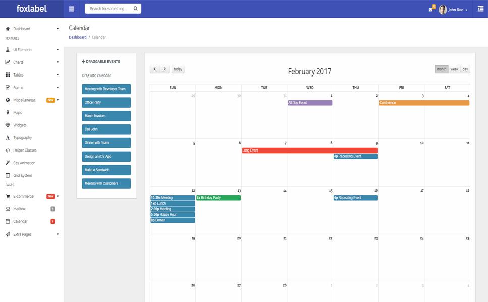 Responsivt Admin-mall för Företagstjänster En stor skärmdump