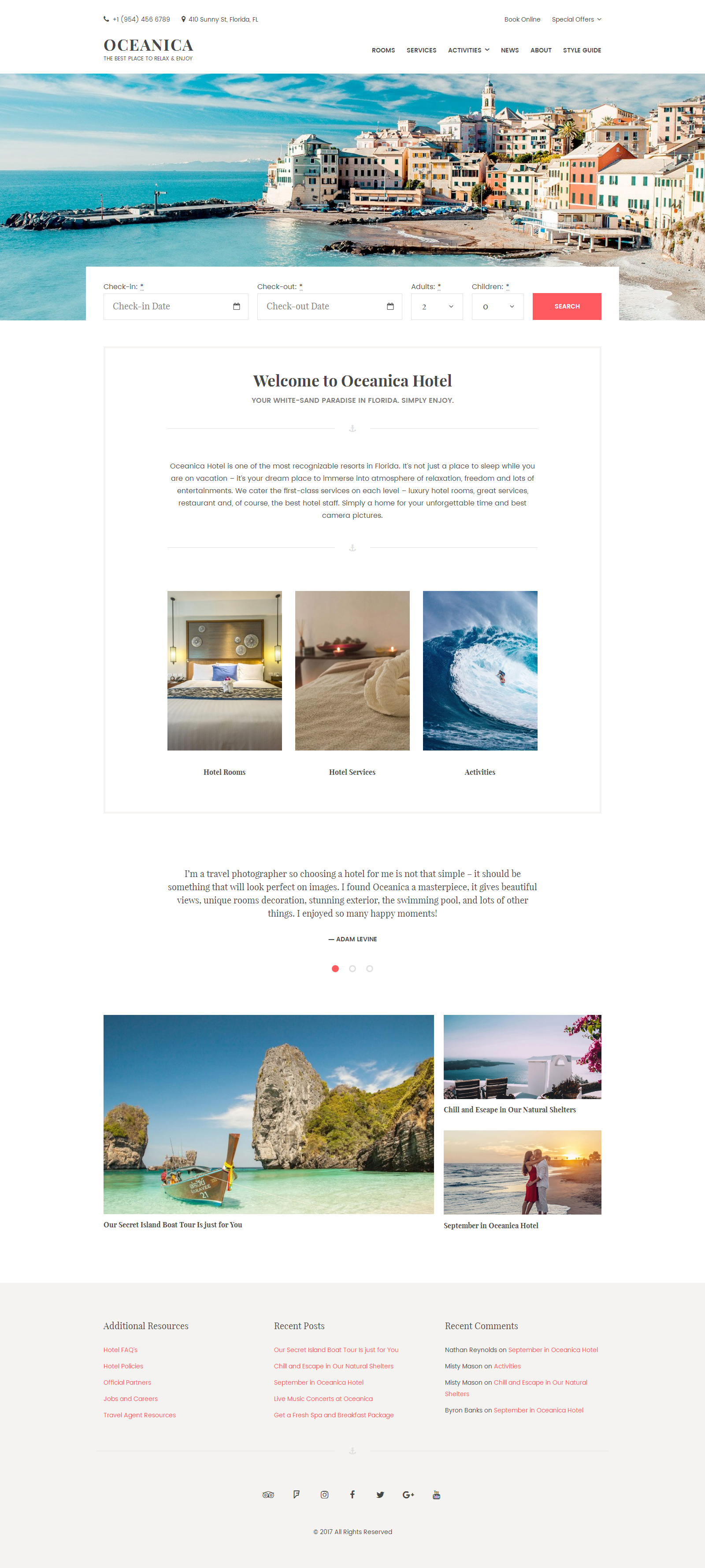 WordPress Theme für Hotels  Großer Screenshot