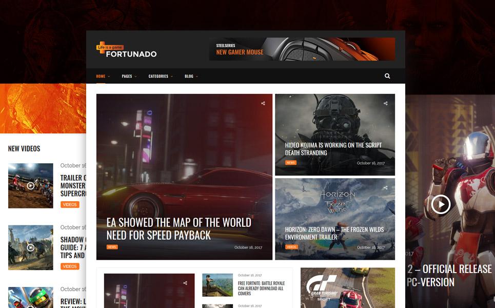 Fortunado - Gamer Responsive WordPress Theme