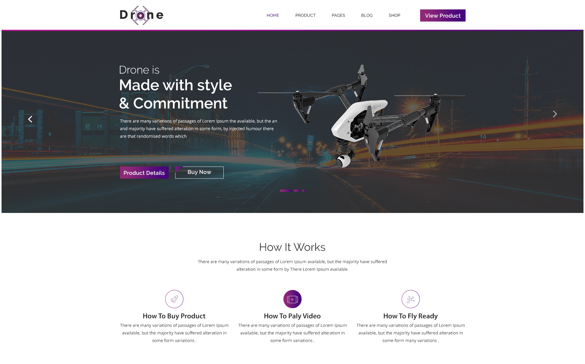 DRONE X Product Landing Page PSD Template