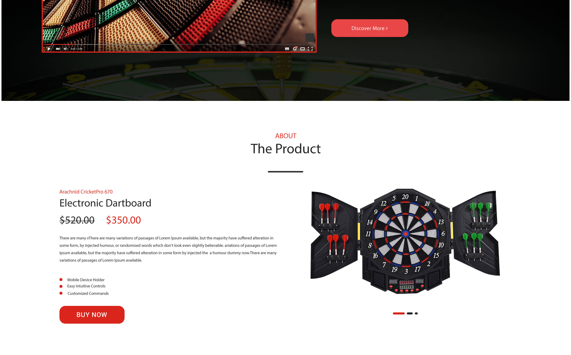 Electro Dart-Electronic Dartboard Product Landing Page PSD Template