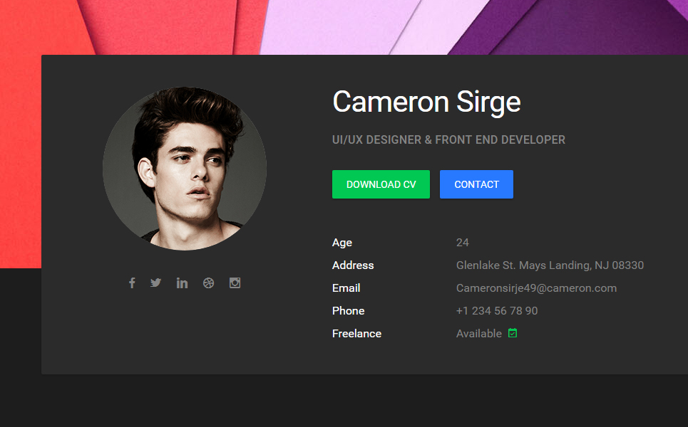 Cameron - Material Cv / Resume / Vcard / Portfolio Html Template