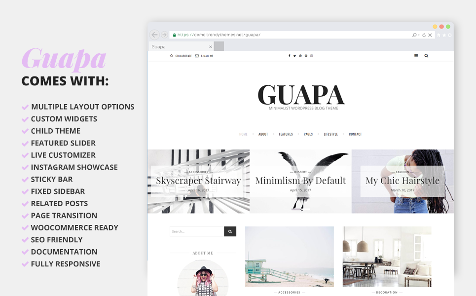 Адаптивный WordPress шаблон №64548 на тему блог о моде Большой скриншот