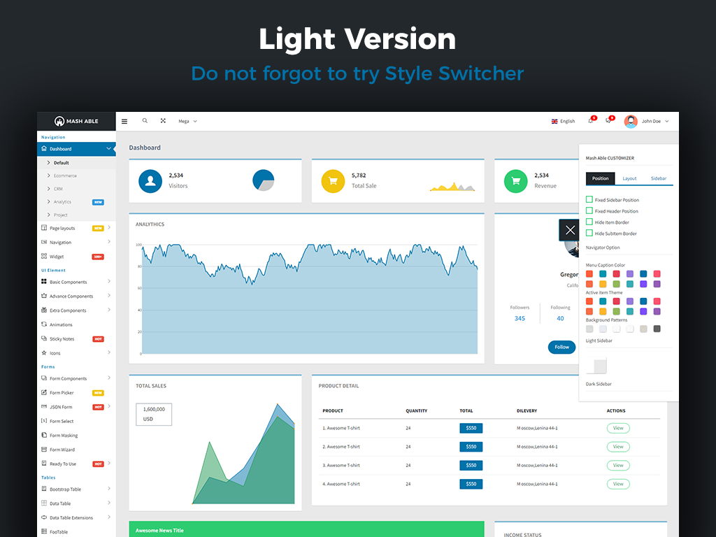 Template 65324 : Mash Able Bootstrap 4 Admin Template