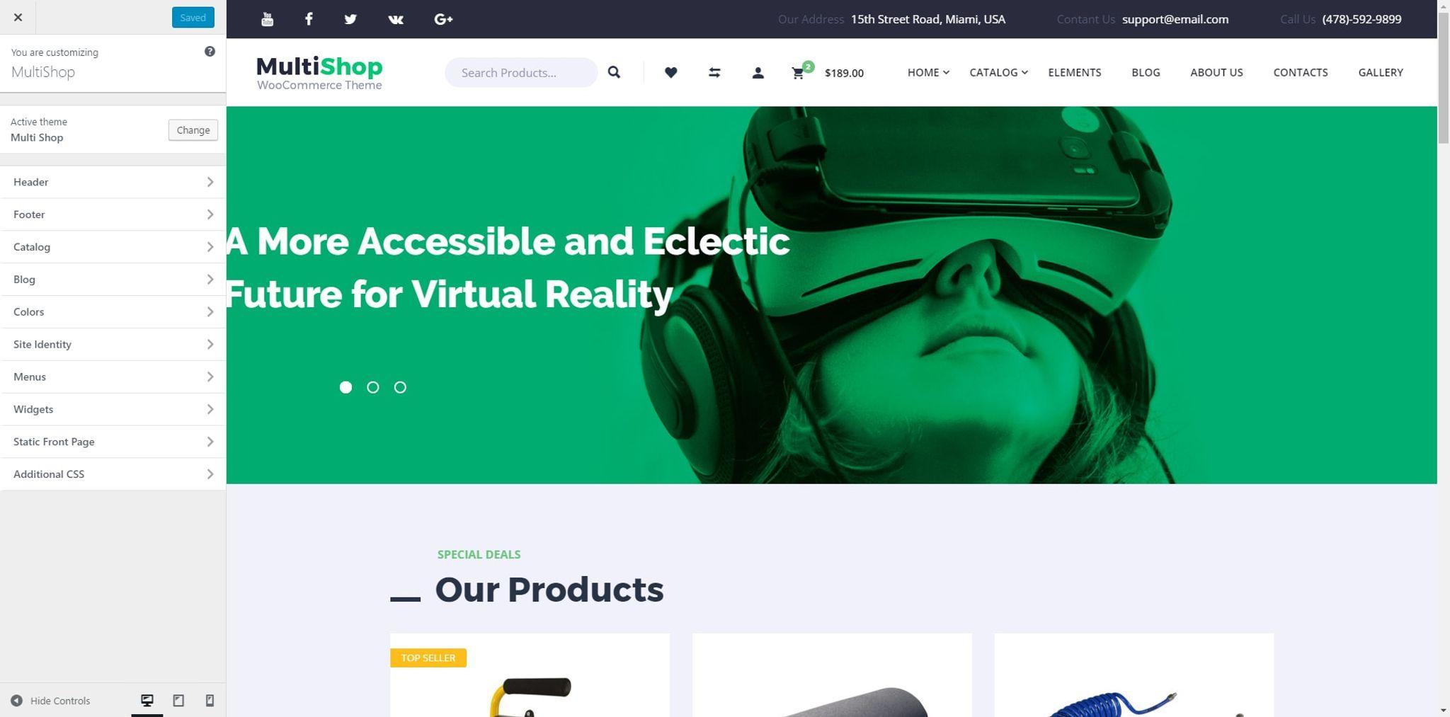 Responsivt WooCommerce-tema för Elektronik En stor skärmdump