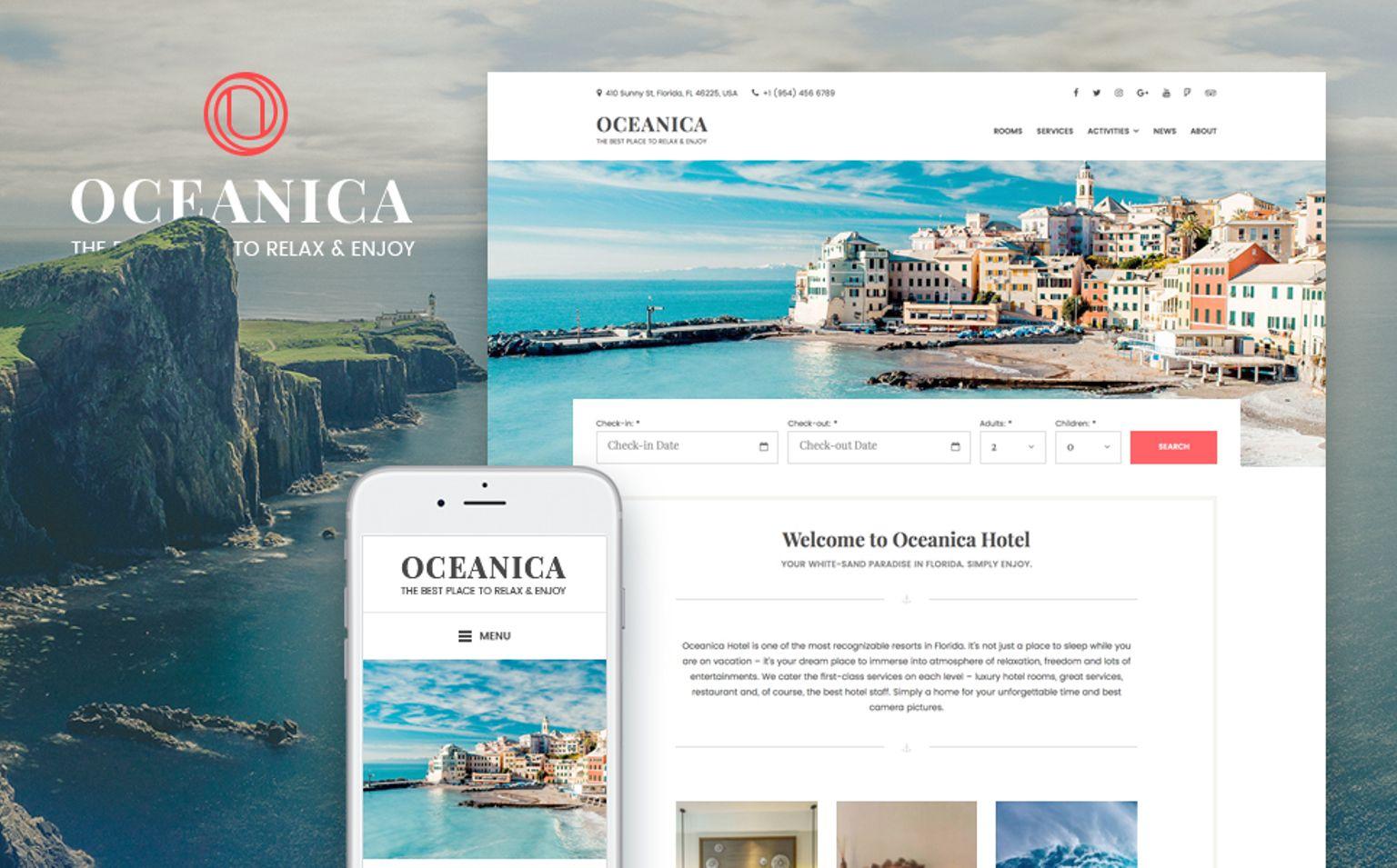 WordPress шаблон на тему готелі Великий скріншот