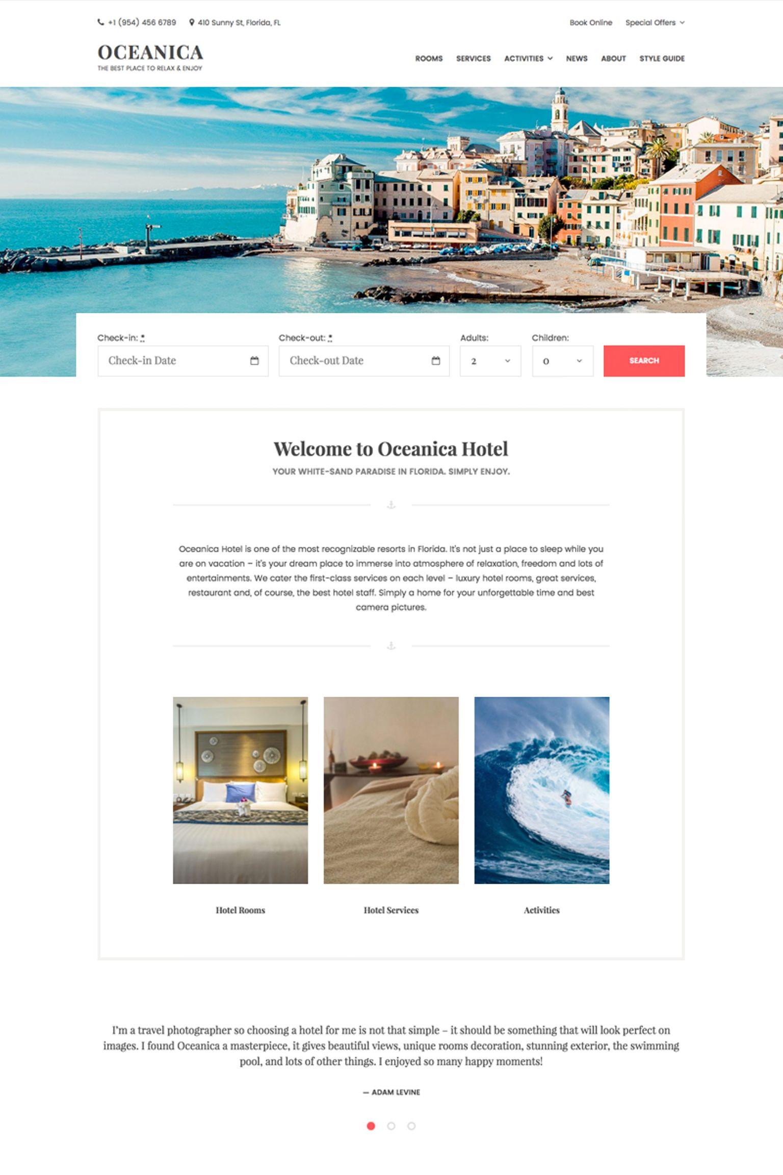 oceanica hotel booking wordpress theme 64367. Black Bedroom Furniture Sets. Home Design Ideas