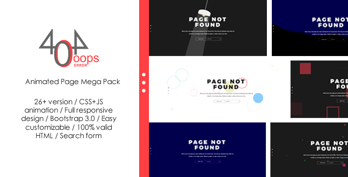 404 - Animated Page Mega Pack Website Template