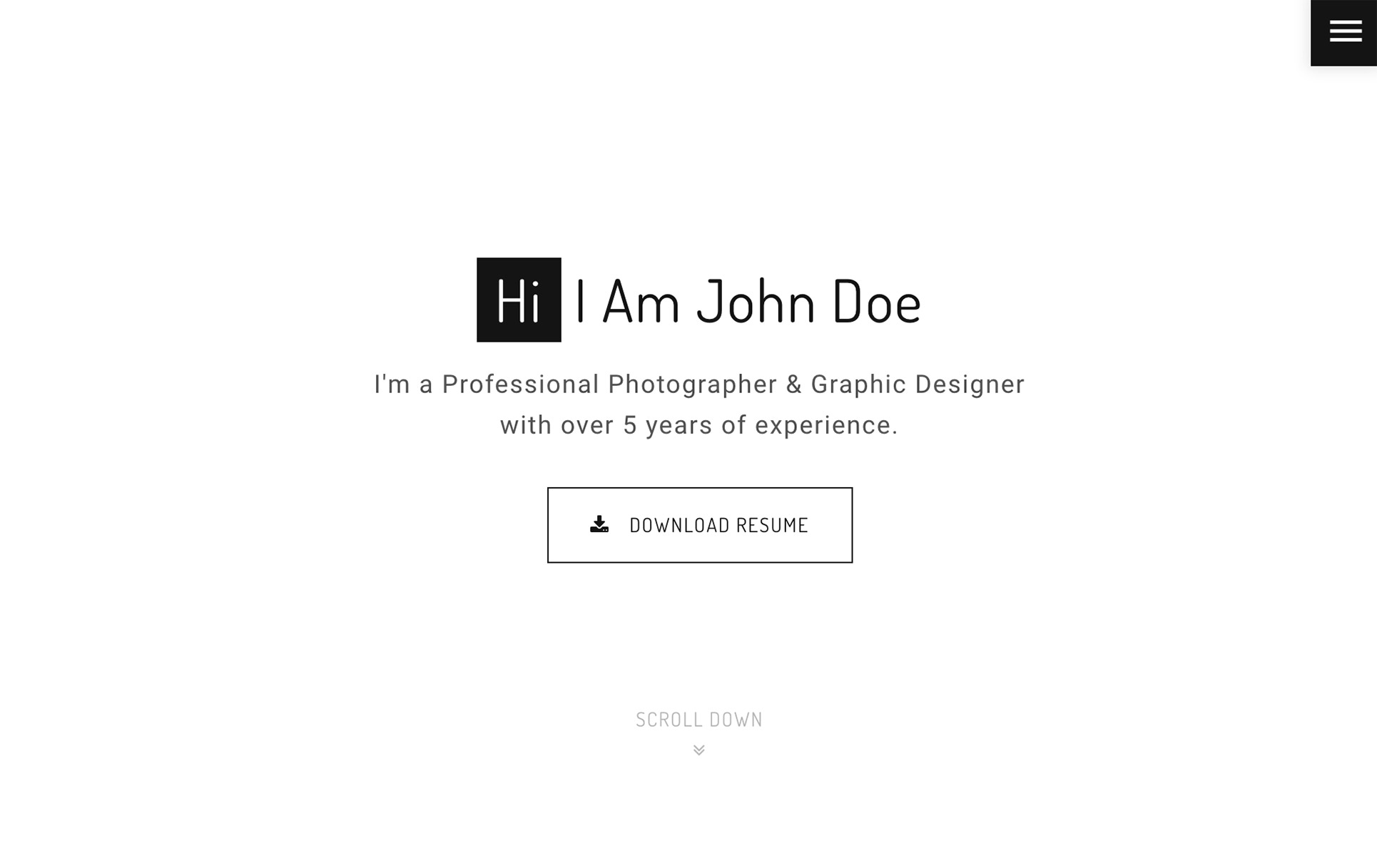 John Doe - Photography Landing Page Template Big Screenshot