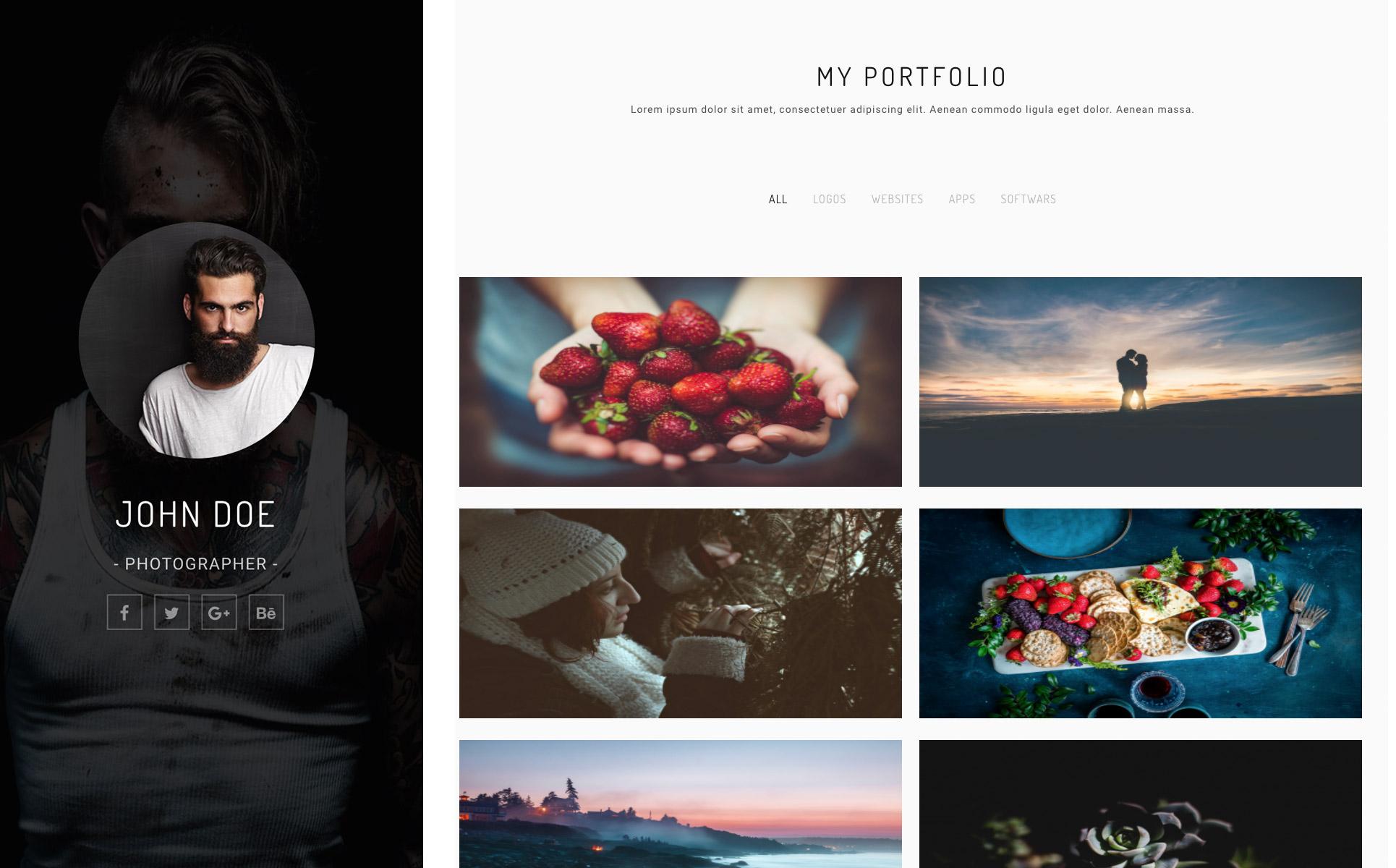 Landing Page Template für Fotografie