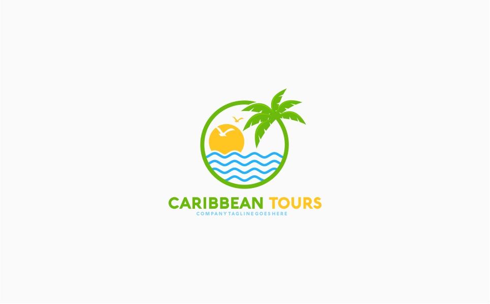 Caribbean Tour Travel Logo Template