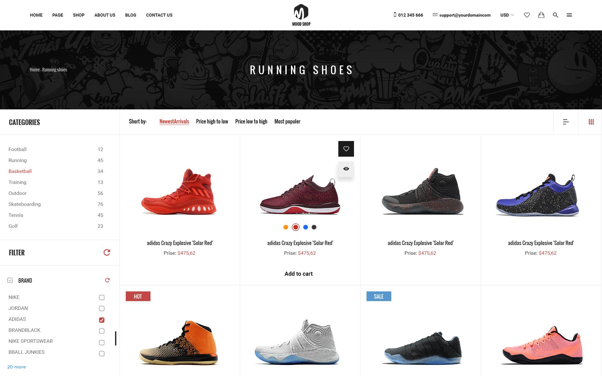 Moodshop - Modern eCommerce Footwear Online Shop PSD Template