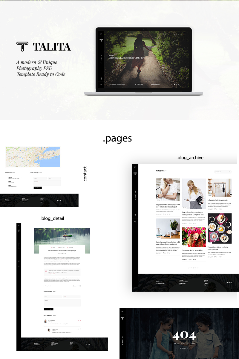 Talita-Modern and One Page Photography PSD Template PSD Template