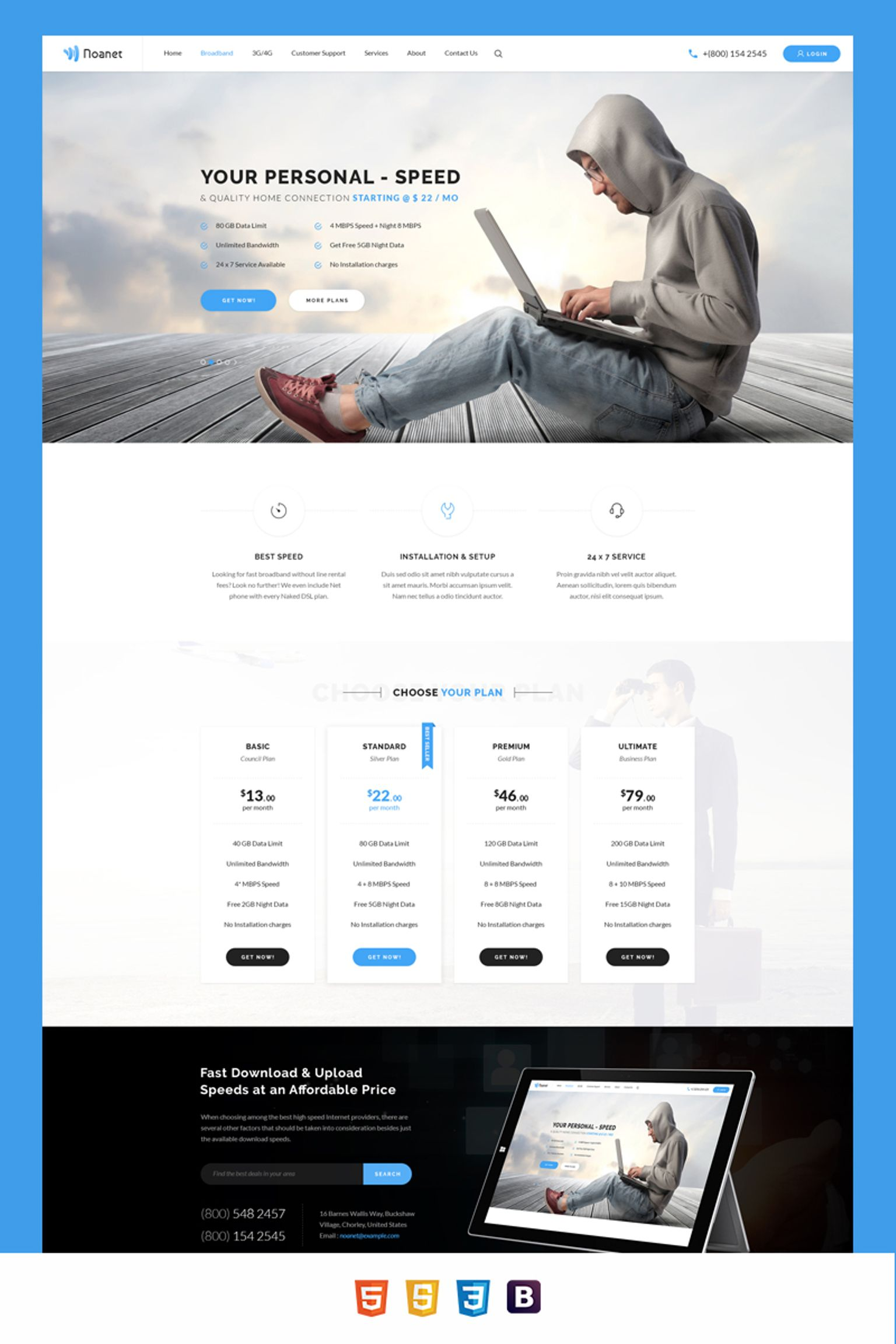 Noanet Internet Provider and Digital Network HTML Template Website Template