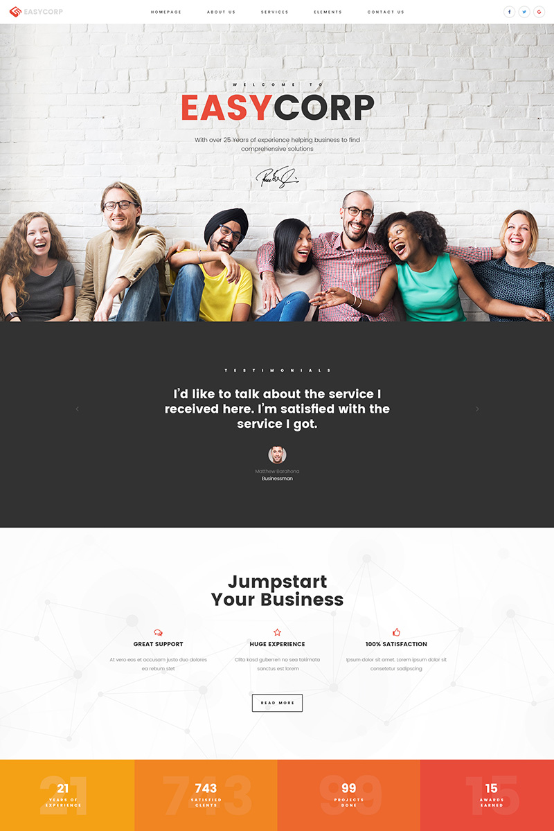 Bootstrap Website template over Business & diensten