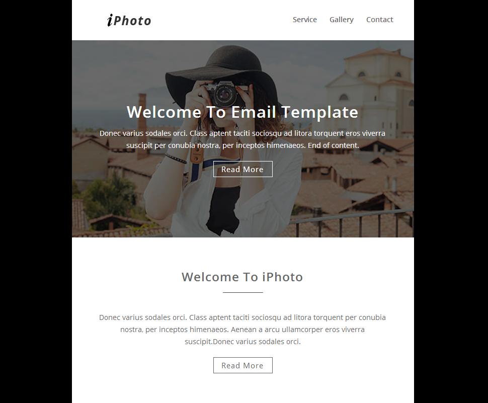 Responsivt Newsletter-mall för fotogalleri En stor skärmdump