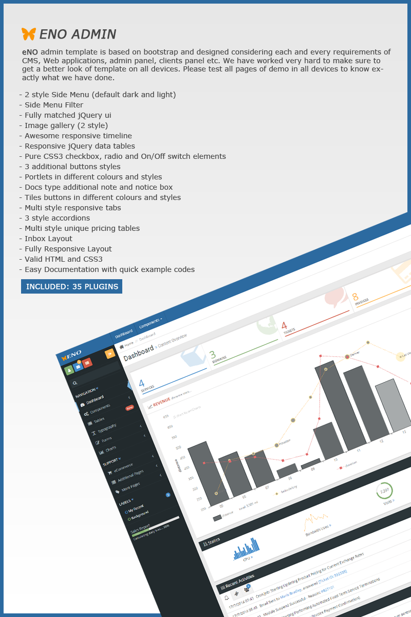 Responsive Admin Template over Business & diensten