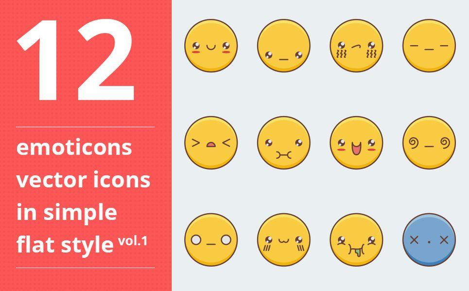 Emotions vector icons set vol.1 Iconset Template Big Screenshot