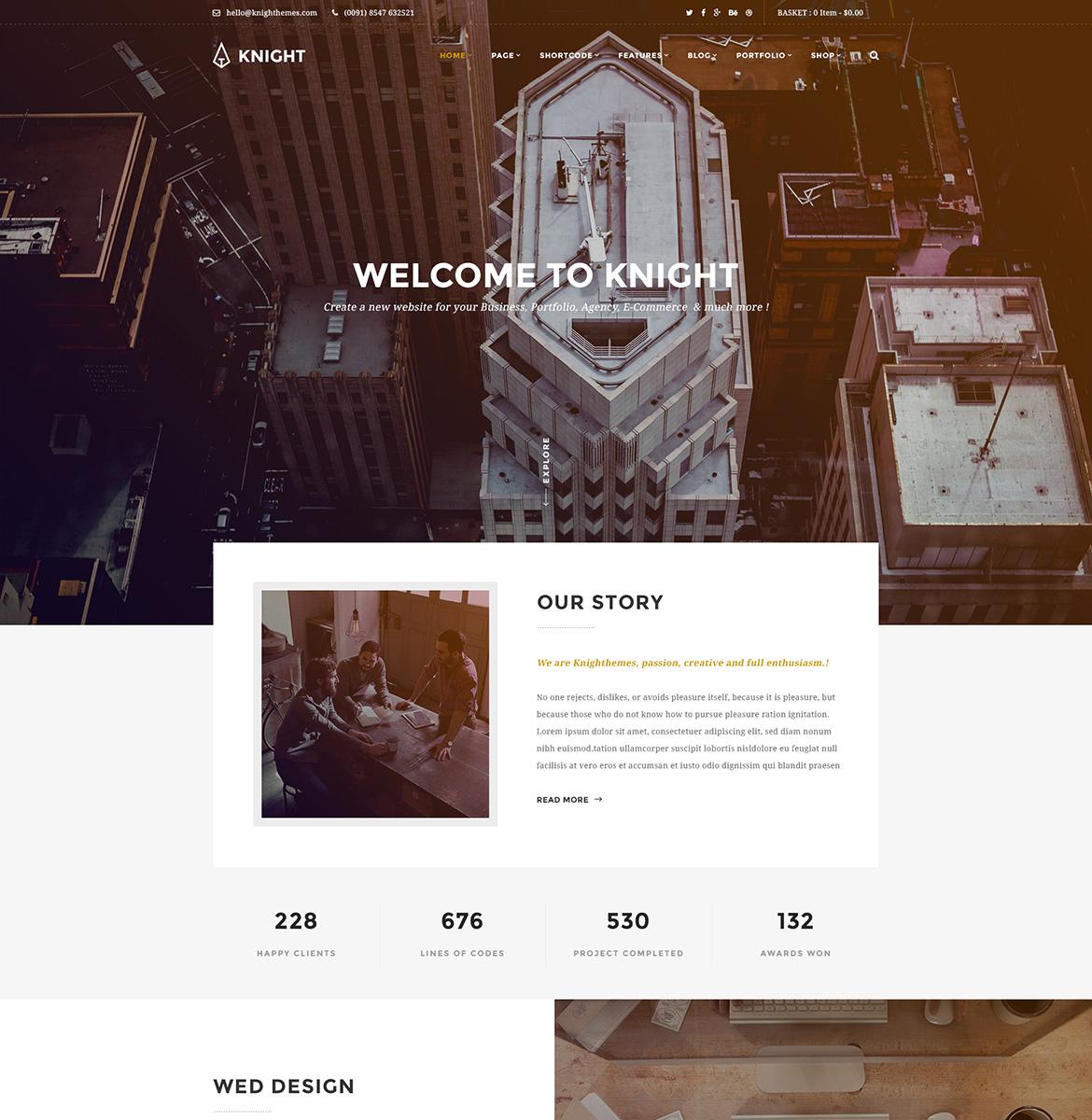 Knight - Corporate and Shop PSD Template Big Screenshot