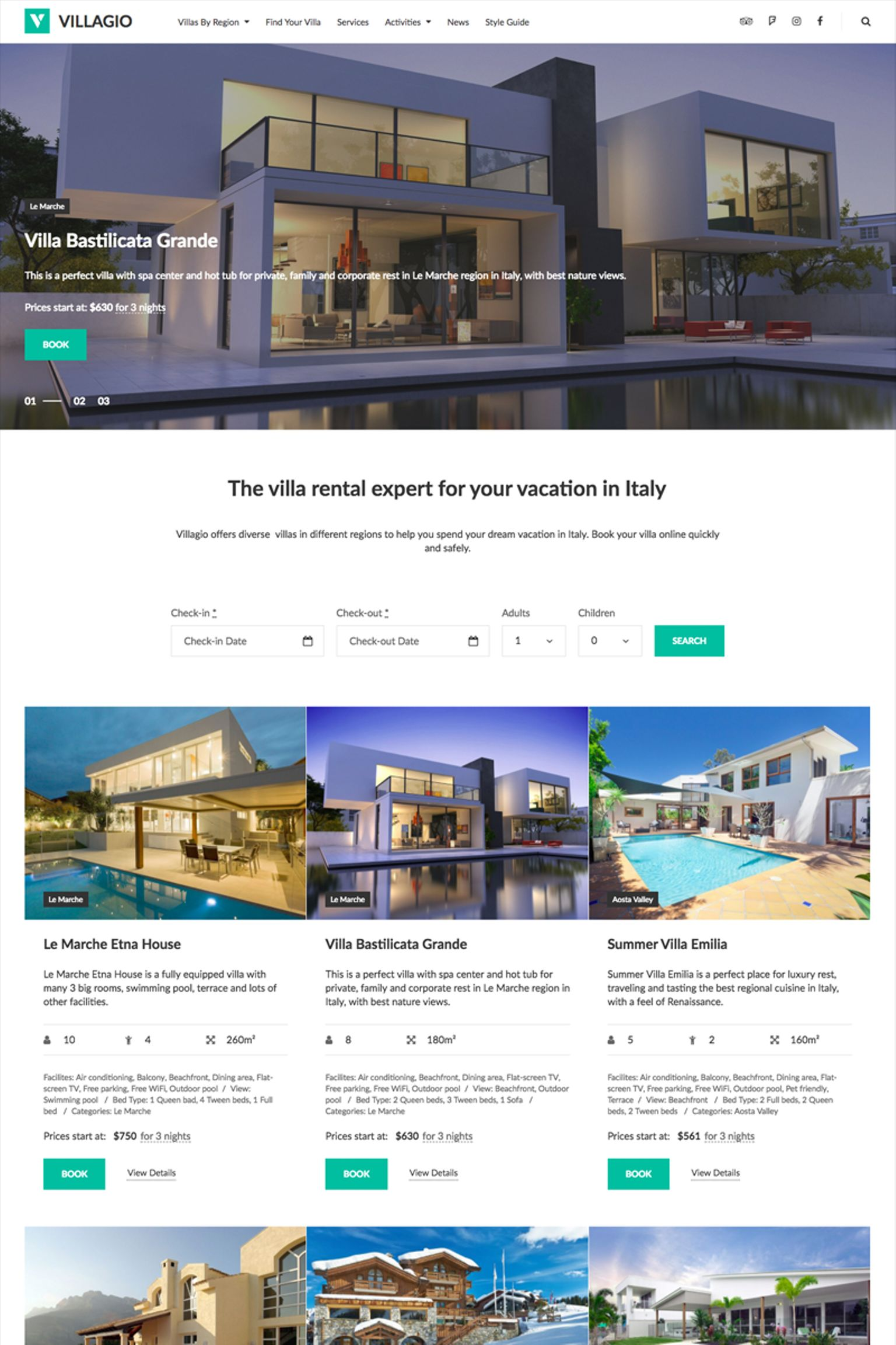 Villagio: Property Booking WordPress Theme