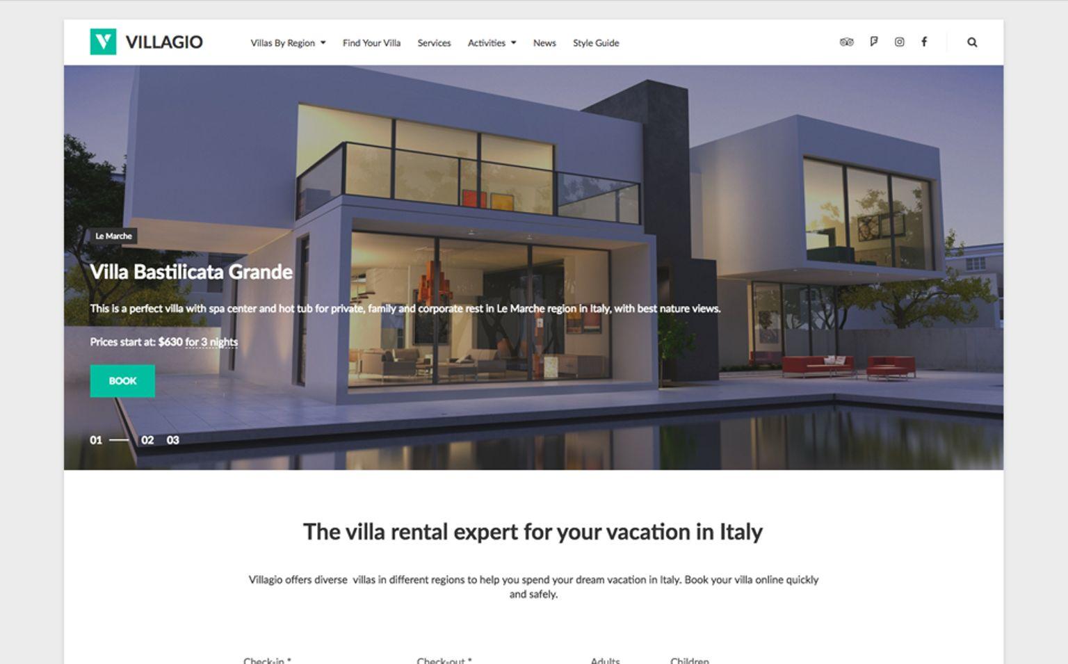 WPML Ready WordPress motiv na téma Realitní kancelář Velký screenshot
