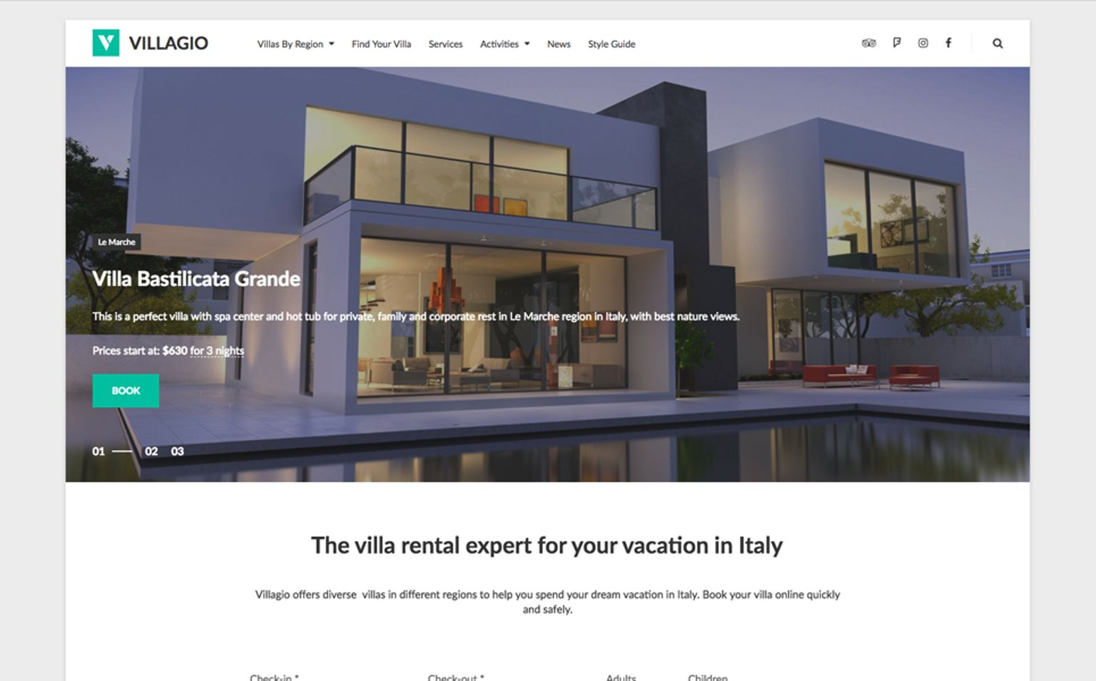Villagio: Property Booking WordPress Theme Big Screenshot