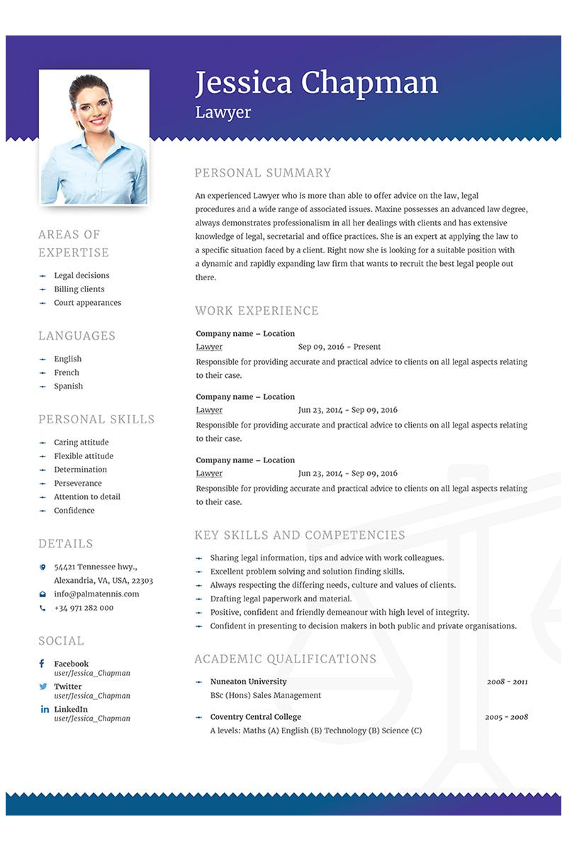 Jessica Chapman - Lawyer CV Resume Template Big Screenshot
