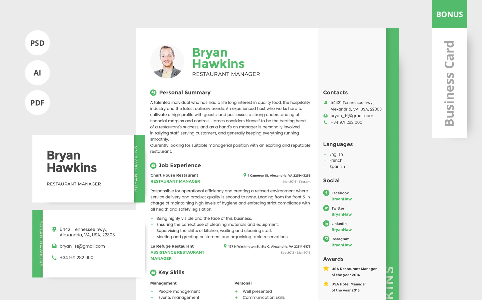 Bryan Hawkins - Restaurant Manager Printable Resume Templates Big Screenshot