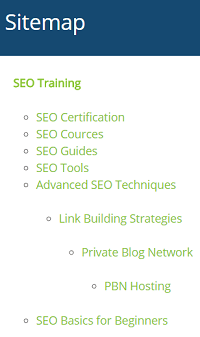 HTML sitemap