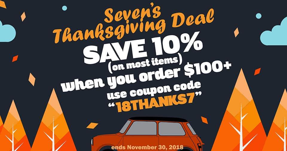 """Save 10% thru Nov. 30th, use coupon code """"18THANKS7"""" at checkout!"""
