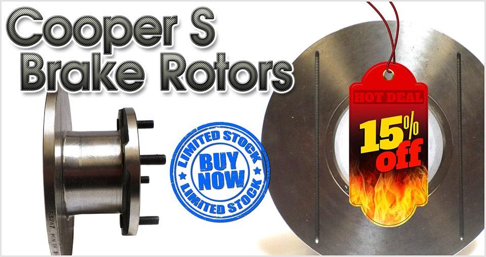 Save 15% on Cooper S grooved brake rotors
