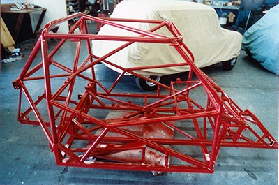 Tube frame during assembly