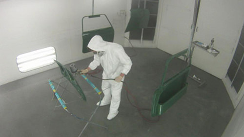 In-house paint booth