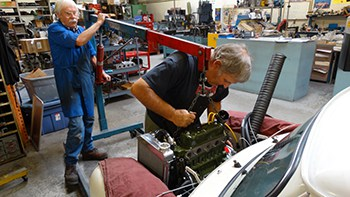 Carefully seating a classic Mini engine