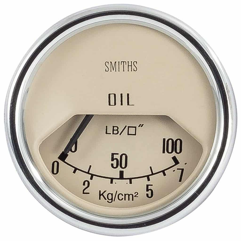 Oil Pressure Gauge, Mk2-on, Smiths, Magnolia