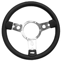 "Steering Wheel, 13"" Leather, Polished Spokes"