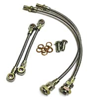 Braided Stainless Brake Hose Set, Front only, Metro 4-pot caliper
