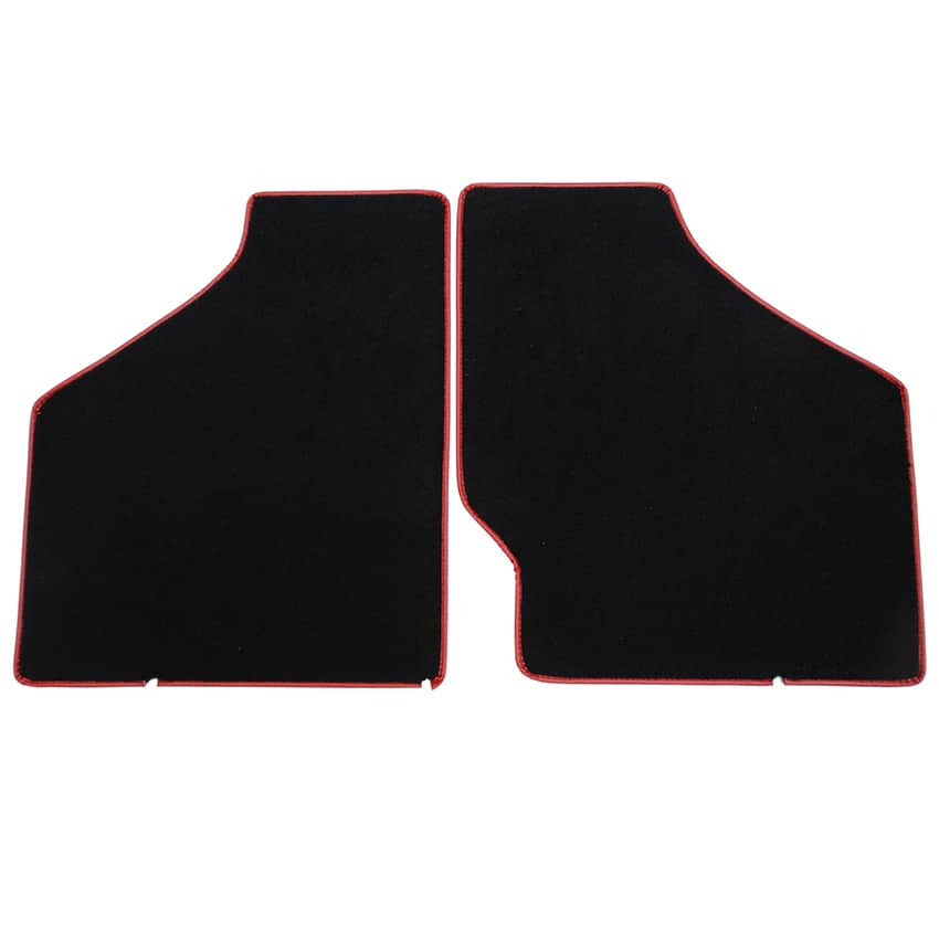 Floor Mat Set, 2-piece Deluxe, 1959-1973, Black w/ Red Trim