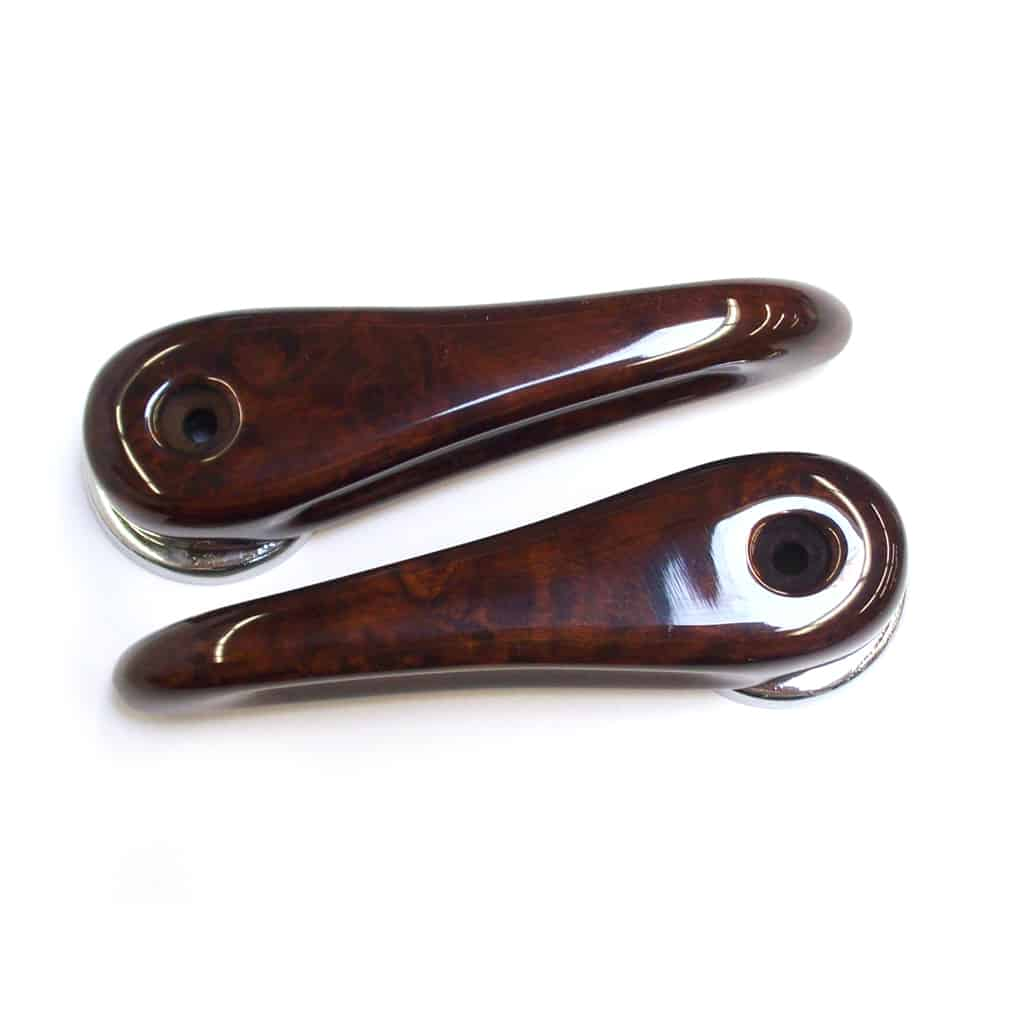 Door Opening Handles, Burl Walnut, Pair