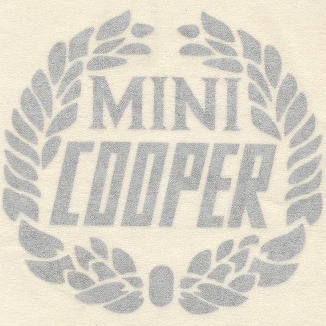 Decal, Mini Cooper Wreath, Silver