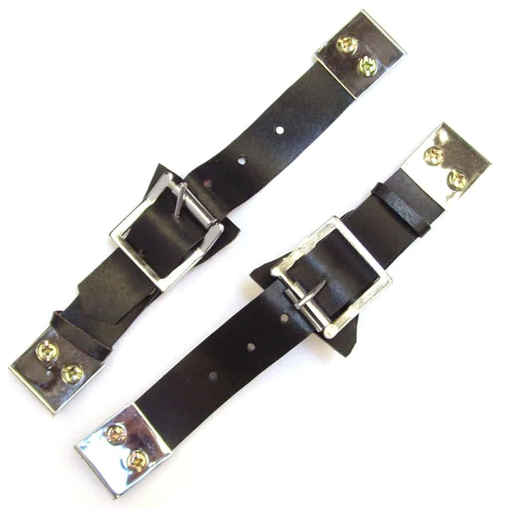 Leather Bonnet Straps, Pair, Black