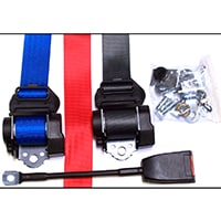Seat Belt Kit, 3 Point Retractable, Red, Blue, or Grey