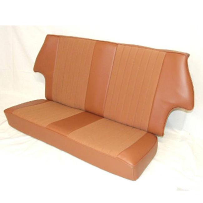 SC3073 rear seat cover, in tan vinyl with Autumn Leaf cloth face