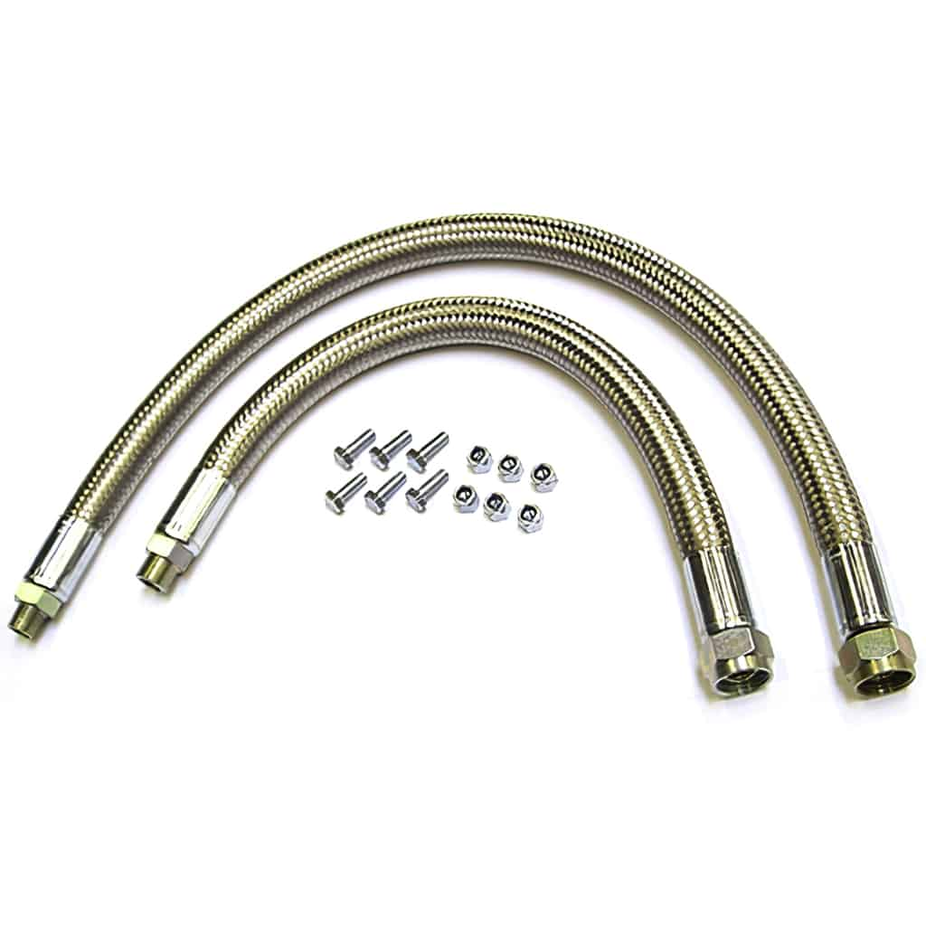 Oil Cooler Hose Kit, stainless-braided, pre-engaged starter